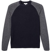 Two-Tone Lambswool Jumper with Crew-Neck