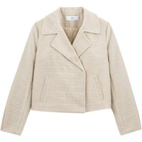 Cropped Biker Jacket in Tweed Effect with Pockets
