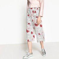 Floral Print Tie Waist Cropped Trousers, Length 20.5
