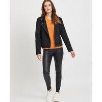 Faux Leather Zipped Jacket.