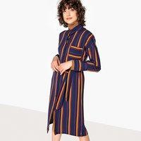 shop for Striped Tie-Waist Midi Shirt Dress at Shopo