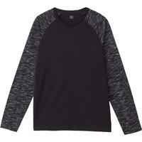 T-shirt Nero uomo T-shirt scollo rotondo maniche lunghe stile alla marinara