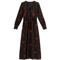 shop for Heart Print Midaxi Dress with Long Puff Sleeves and Tie-Waist at Shopo