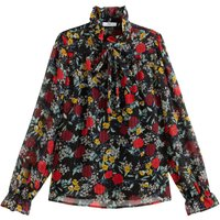 shop for Pussy Bow Blouse with High-Neck in Floral Print at Shopo