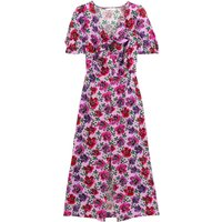 shop for Occasion Midaxi Dress in Satin Floral Print with Short Puff Sleeves at Shopo