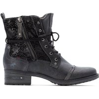 Faux Leather Lace-Up Ankle Boots with Floral Detail