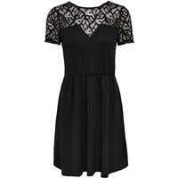 Lace Bustier Knee-Length Dress with Short Sleeves