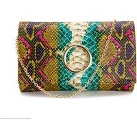 Clutch Bag in Multi-Coloured Snake Print