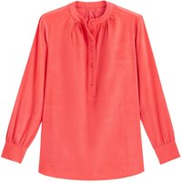 shop for Corduroy Grandad-Collar Blouse with 3/4 Length Sleeves at Shopo