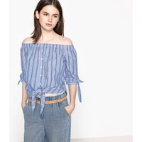 Striped Print Tie-Front Blouse with 3/4 Length Sleeves
