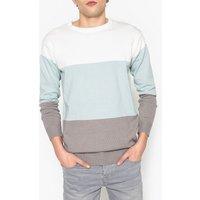 Rigato blu chiaro/bianco uomo Pull a righe scollo rotondo maglia sottile