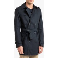 Waterproof Cotton Trench Coat with Double-Breasted Buttons and Pockets