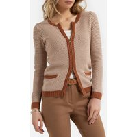 Cotton Mix Zipped Cardigan with Crew-Neck