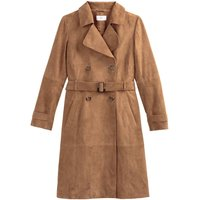 Suede Double-Breasted Trench Coat with Pockets and Belt