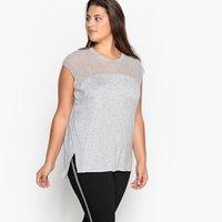 T-shirt grigio chiné donna T-shirt scollo rotondo due tessuti senza maniche