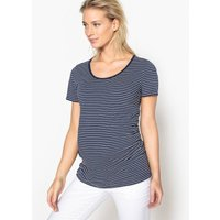 Striped Maternity T-Shirt with Pleated Waist Detail