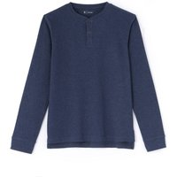 Plain Long-Sleeved T-Shirt with Grandad Collar