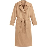Cotton Long Duster Trench with Double-Breasted Press-Studs and Pockets