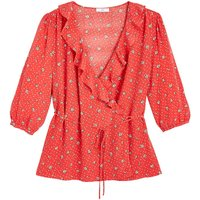 shop for Ruffled Wrapover Blouse with 3/4 Length Sleeves at Shopo