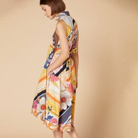Sleeveless Shirt Midi  Dress in Floral Print Cotton/Linen with Button Fastening