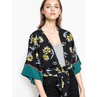 Printed V-Neck Kimono Blouse with 3/4 Length Sleeves