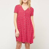 shop for Floriane Babydoll Graphic Print Dress with Buttons at Shopo