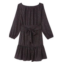 shop for Heart Print Short Dress with Long Sleeves and Tie-Waist at Shopo