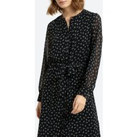 shop for Floral Midi Shirt Dress with Tie-Waist and Long Sleeves at Shopo