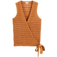 Cotton Mix Sleeveless Cardigan in Openwork Knit