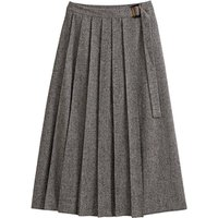 Tweed Pleated Wrapover Skirt