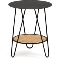 Rosali Side Table in Metal and Rattan