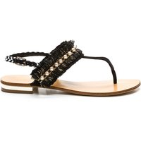 Hila Flat Leather Sandals with Beaded Details