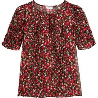 shop for Floral Crew Neck Blouse with Short Puff Sleeves at Shopo