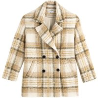 Wool Mix Pea Coat in Checked Print