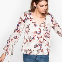 Embroidered Floral Print Blouse