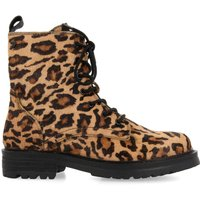 Bamberg Lace-Up Suede Boots in Leopard Print