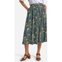 Straight Pleated Midi Skirt in Floral Print