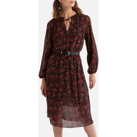 shop for Floral Print Midi Dress with Puff Sleeves at Shopo