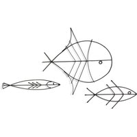 Lupine Wired Fish Wall Decoration in Iron (Set of 3).