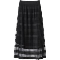 Striped Tulle Pleated Skirt