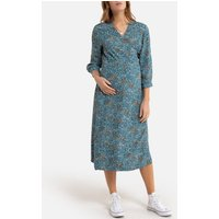 Printed Maternity Midi Dress with Long Sleeves