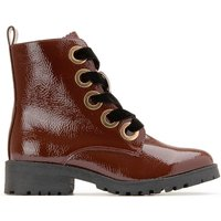 Lacquered Lace-Up Boots with Golden Eyelets
