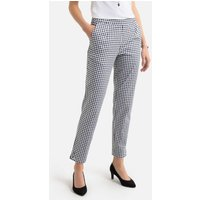 Cotton Peg Trousers in Gingham Print, Length 26.5