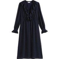 shop for Recycled Polka Dot Dress with Ruffled V-Neck and Long Sleeves at Shopo