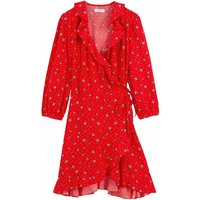 shop for Ruffled Wrapover Dress in Floral Print at Shopo