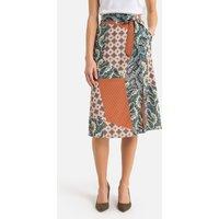 Tile Print Full Midi Skirt with Slit and Tie-Waist