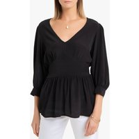 shop for V-Neck Gathered Blouse with 3/4 Length Balloon Sleeves at Shopo