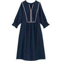 Grandad-Collar Embroidered Dress in Linen Mix