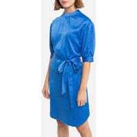 shop for Satin Polka Dot Mini Dress with Elbow Length Sleeves and Tie-Waist at Shopo