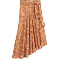 Asymmetric Floral Midaxi Skirt with Tie-Waist
